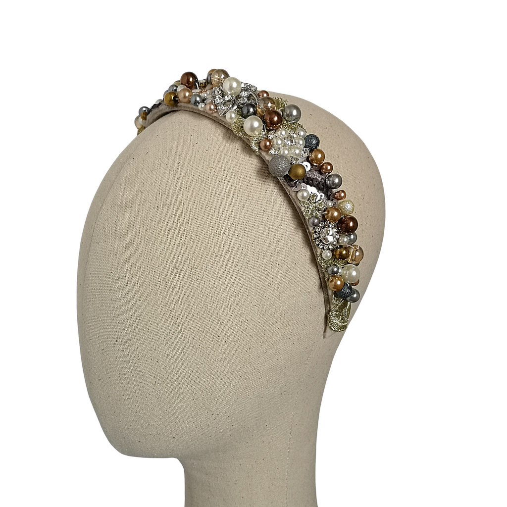 Cream, Gold & Silver Beaded Hairband