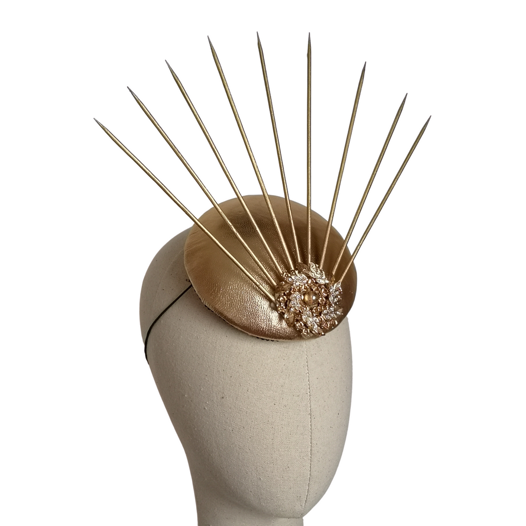 Gold Leather Spike Headpiece