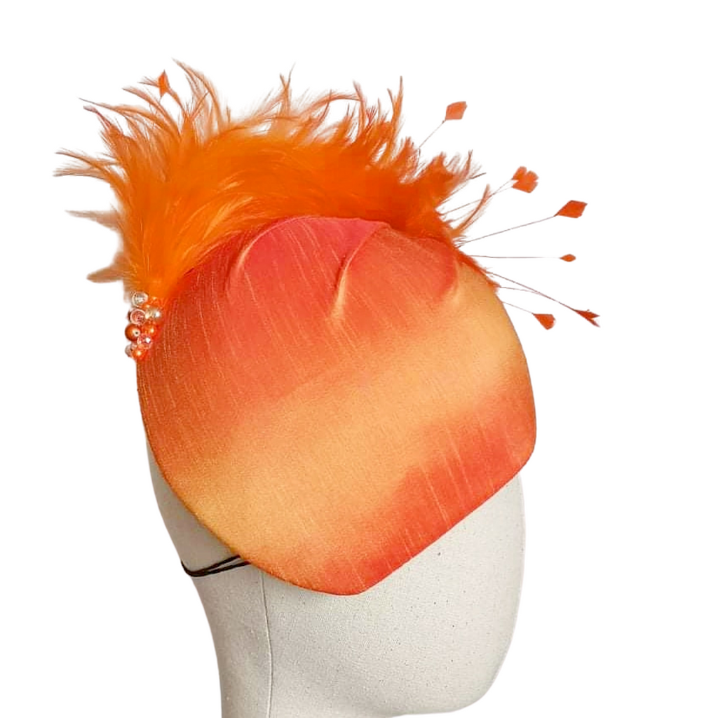 Orange Raw Silk Headpiece