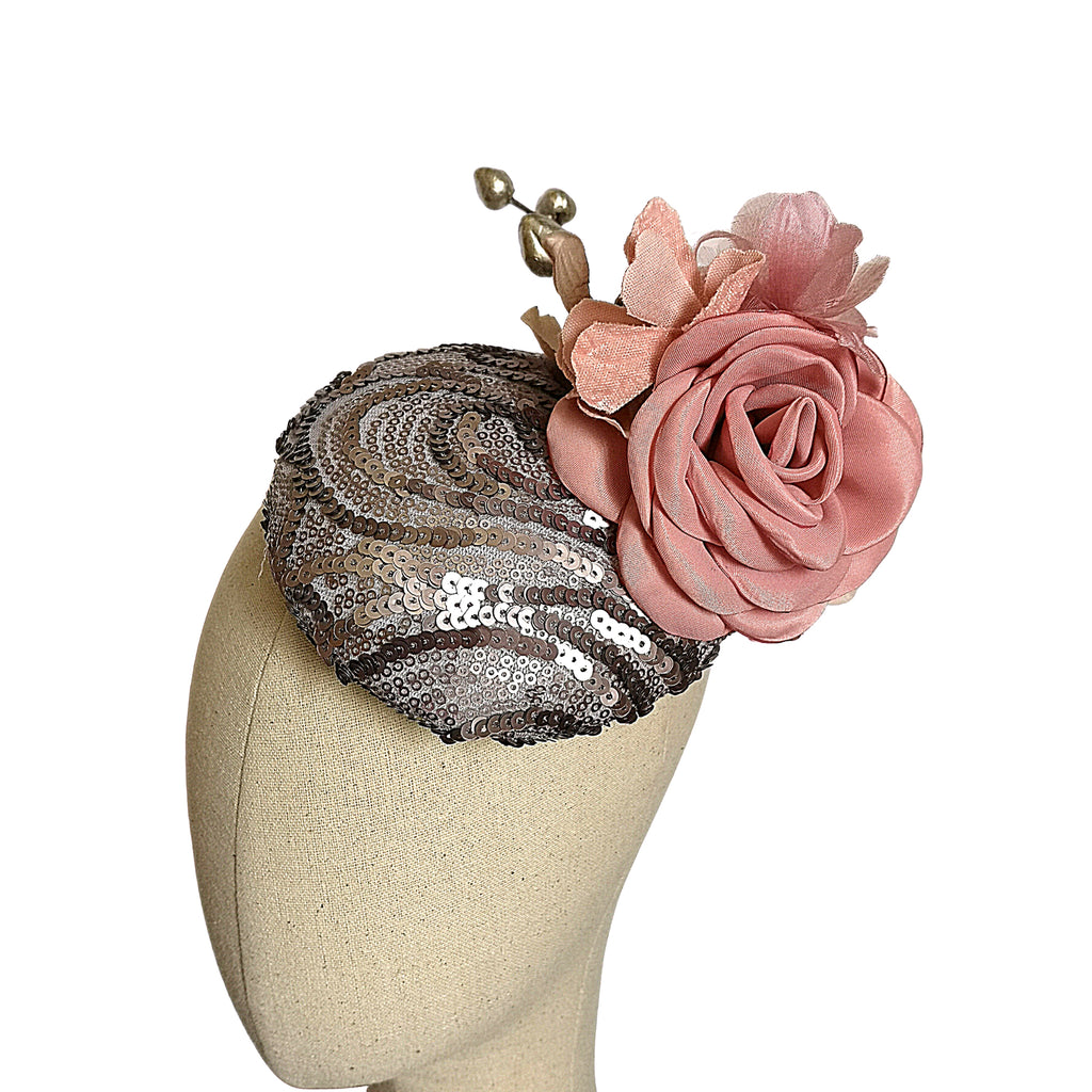 Pewter Sequins & Blush Flower Headpiece
