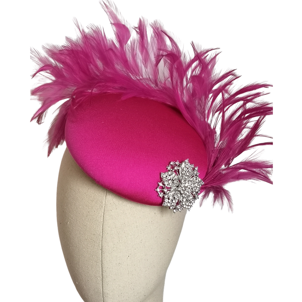 Pink Magenta Feathered Headpiece
