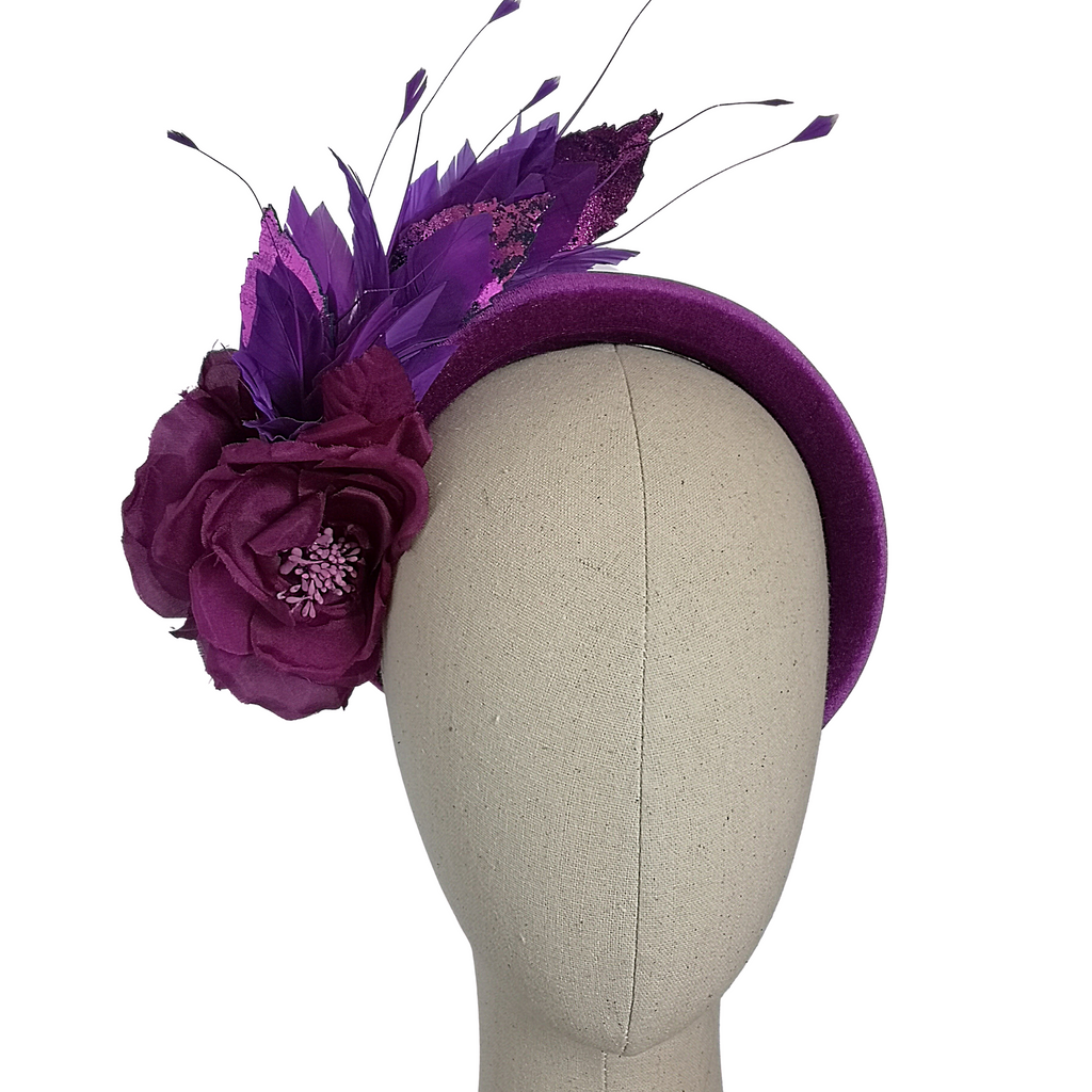 Purple Silk Rose Feathered Crown
