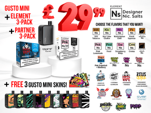 SPECIAL DEAL: Gusto Mini + Element 3-Pack +Partner 3-Pack + 3 FREE Skins
