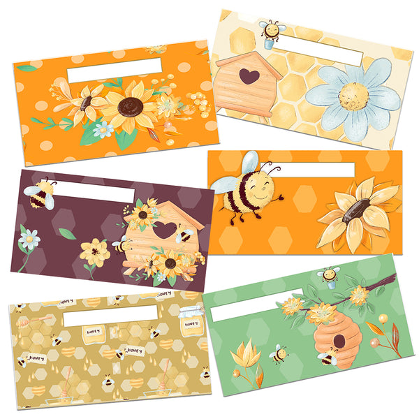 Honey Bees & Flowers Cash Envelopes Horizontal