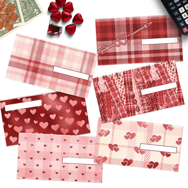 6 Valentine's Day Flannel Cash Envelopes (Horizontal)