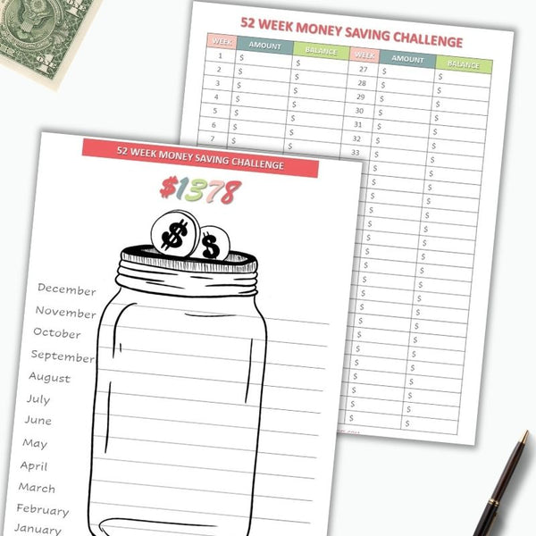 52-Week Money Saving Challenges Trackers