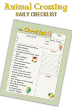 Load image into Gallery viewer, Animal Crossing Inspired Daily Checklist Printable