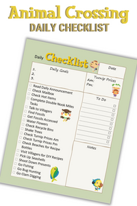 Animal Crossing Inspired Daily Checklist Printable