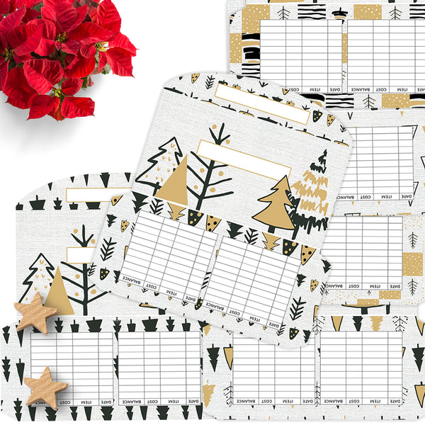 6 Black and Gold Christmas Tree Cash Envelopes