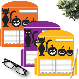 3 Halloween Halloween Cash Envelopes Cat and Jack o Lanterns