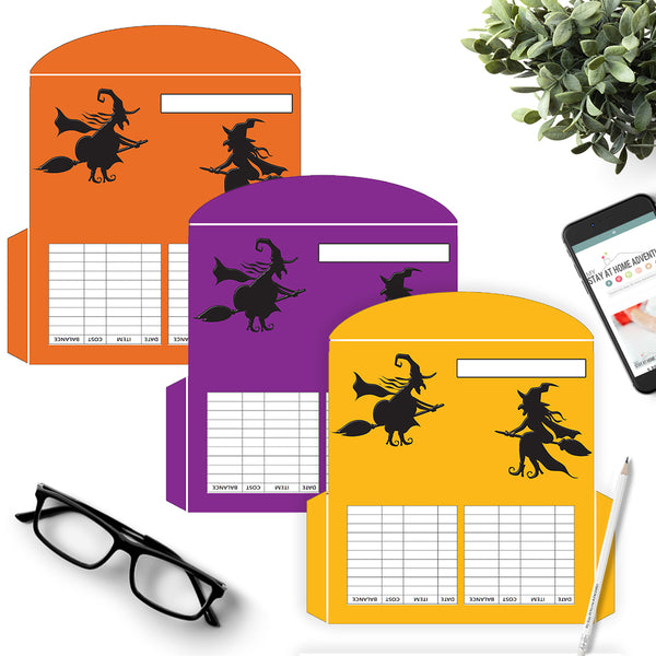 3 Halloween Solid Witches Cash Envelopes