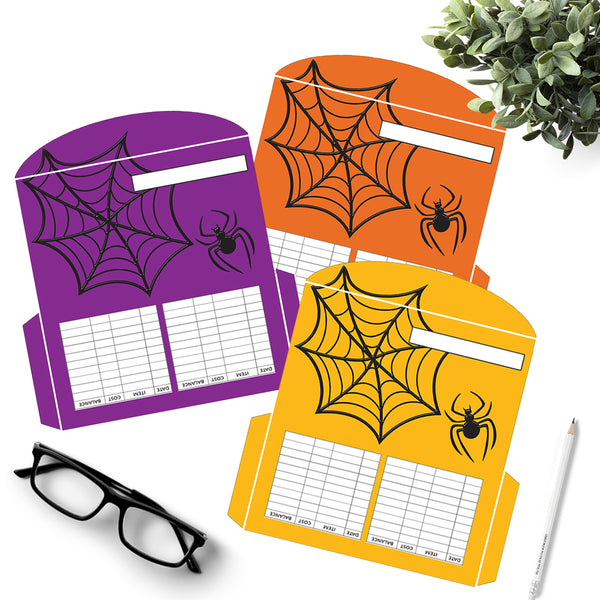 3 Halloween Spider and Web Cash Envelopes