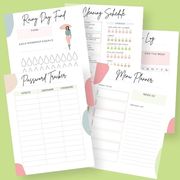 Home Organization  Printable Sheets (12 sheets)