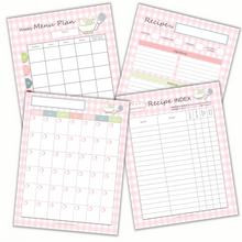 Load image into Gallery viewer, Weekly meal planning sheets with recipe index and recipe card