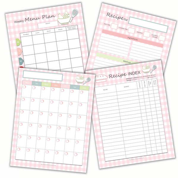 Weekly meal planning sheets with recipe index and recipe card