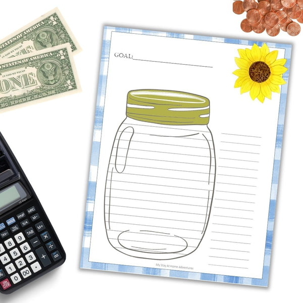 Mason Jar Sunflower Money Savings Goal Tracker Printable