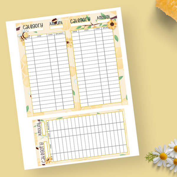 Bees & Flowers Wallet Size Money Trackers