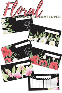 Floral Black Cash Envelopes Printables