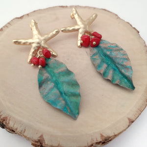 Patina and coral earrings
