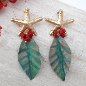 Starfish and patina earrings