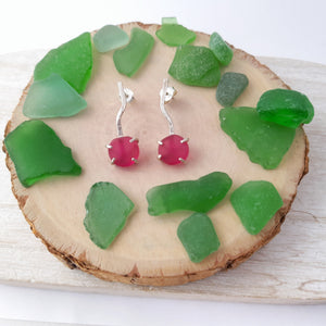 Pendientes sea glass rojo | Red sea glass earrings