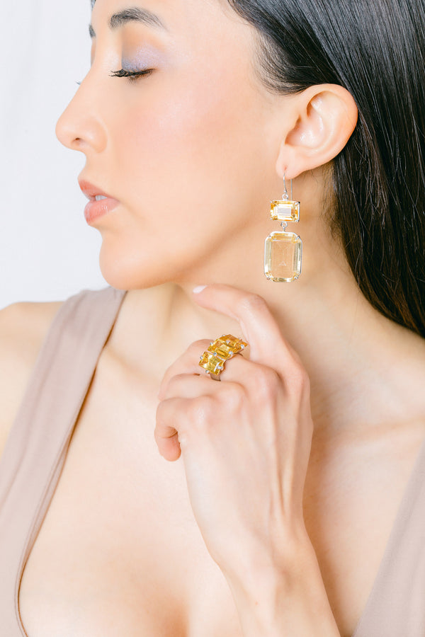 Citrine double drop  earring