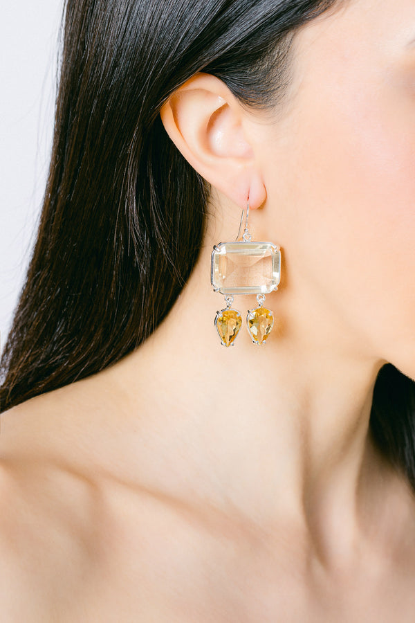 Citrine, yellow quartz drop earrings
