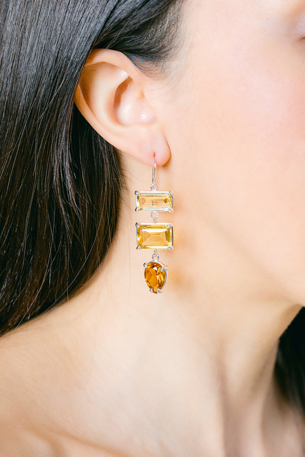 Citrine, yellow quartz triple drop earrings