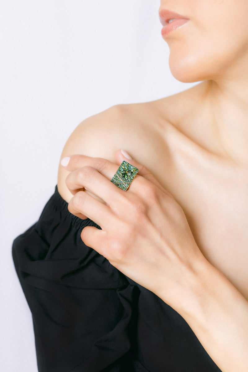 Emerald, peridot, green tourmaline rectangle 18K ring with X and sapphire accents