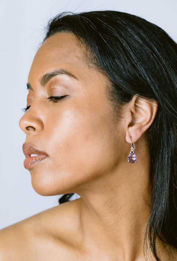 Amethyst teardrop prong set earrings