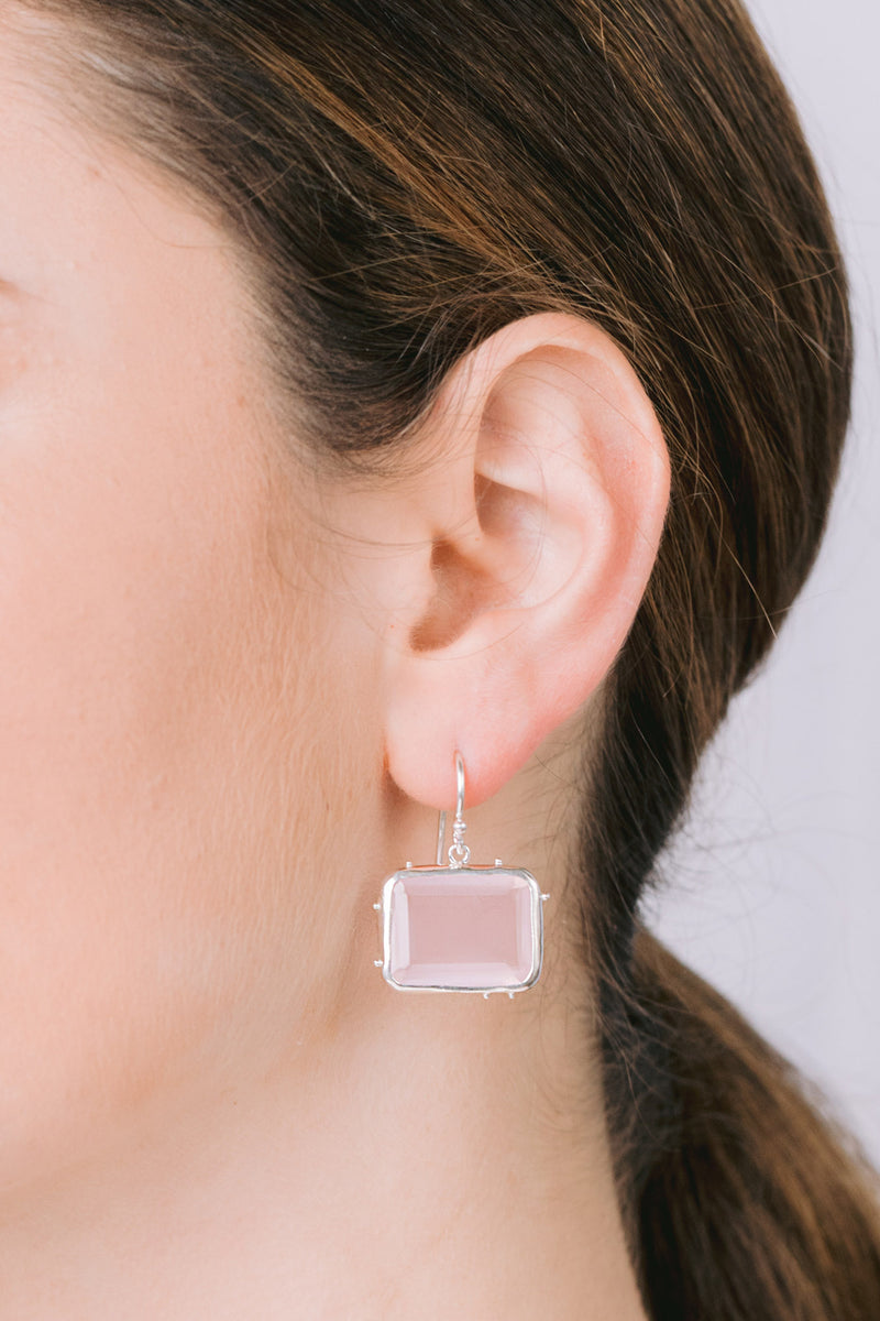 Granulated emerald cut bezel earrings