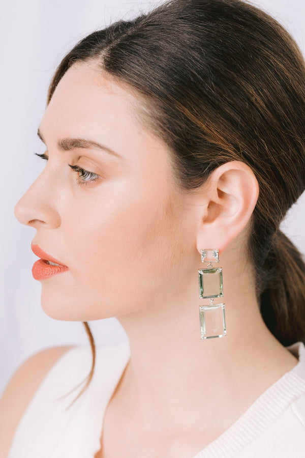 Prasiolite triple drop earrings on post