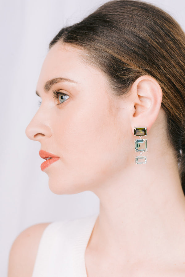 Emerald cut olive quartz, lt green quartz, prasiolite earrings