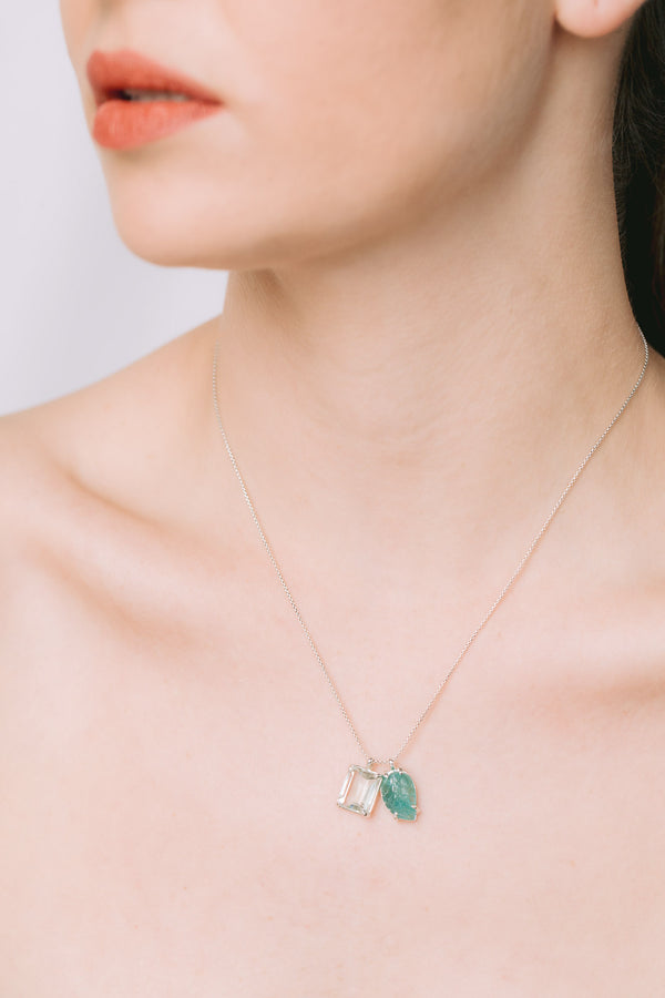 Emerald charm necklace