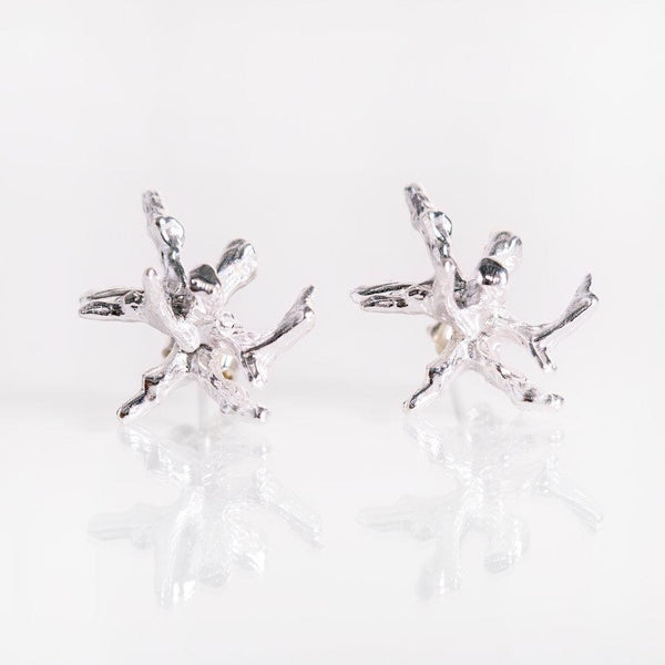 Silver coral post earrings