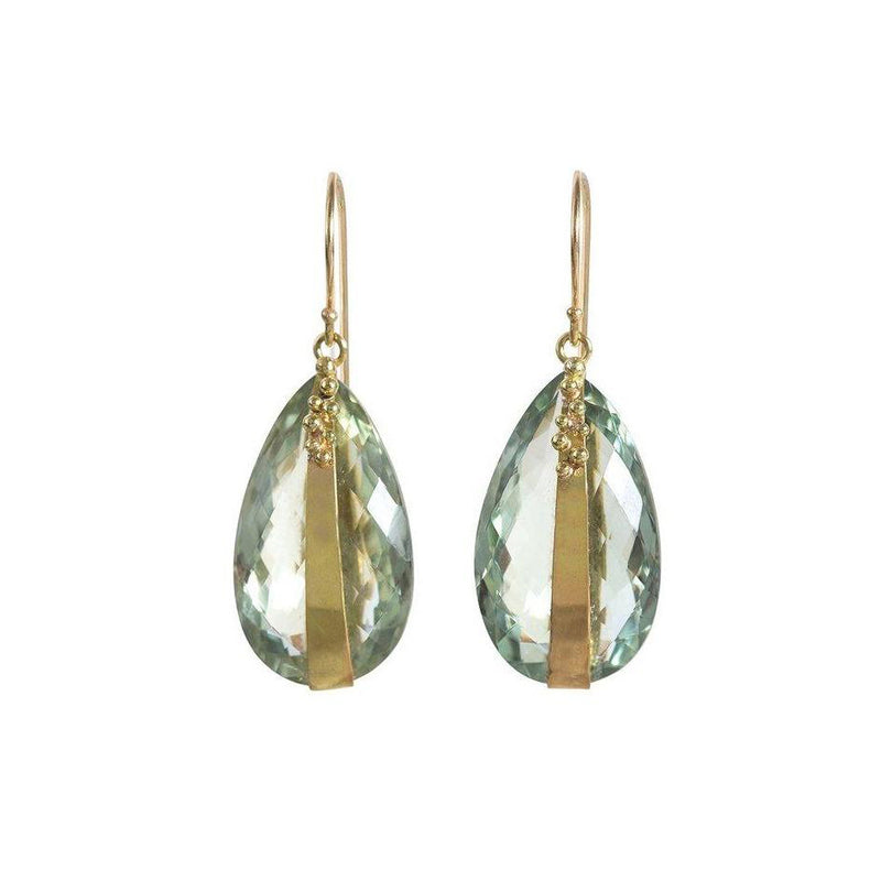 Large prasiolite teardrop earrings