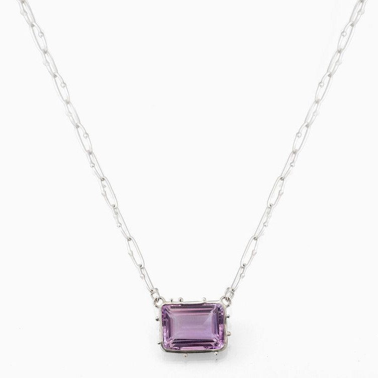 Granulated emerald cut necklace in amethyst