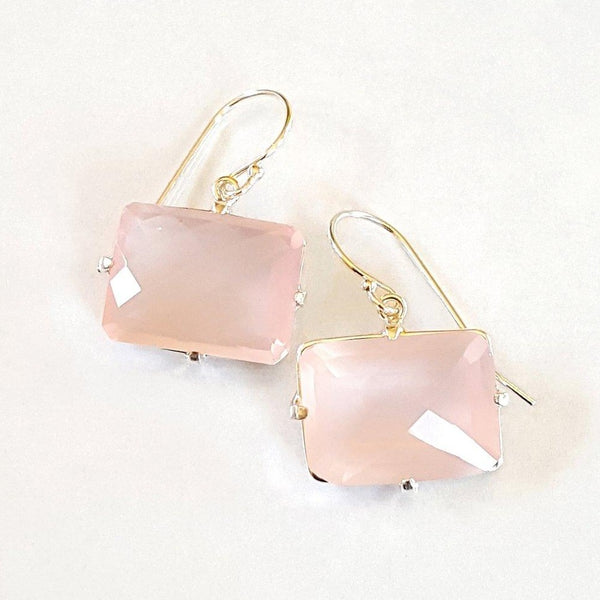 Rose quartz faceted prong set earrings