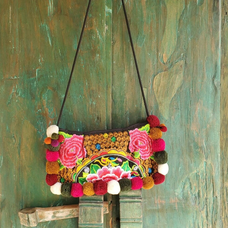 Multicolor, embroidered cotton handbag