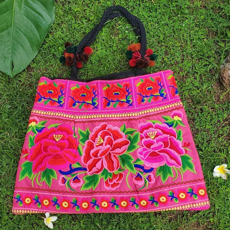 Multicolor, embroidered large cotton handbag