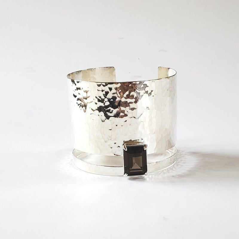 Sterling silver hammered smoky quartz cuff bracelet