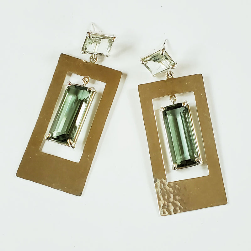 Prasiolite post, green quartz, hammered silver rectangle drop earring