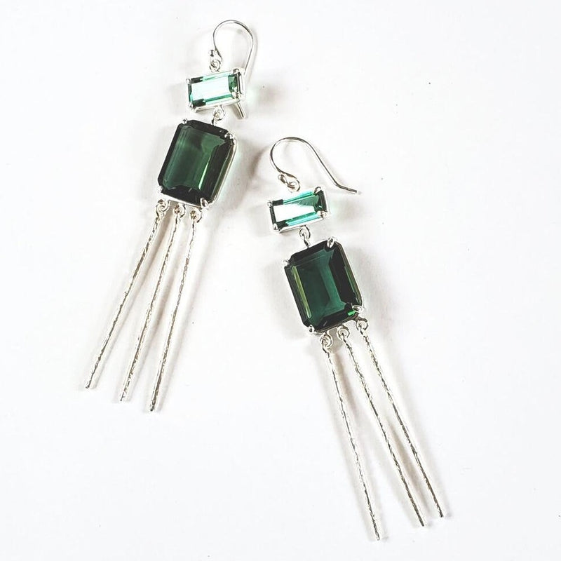 Emerald quartz, emerald quartz textured silver drop earrings