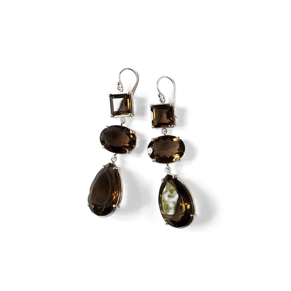 Smoky quartz triple drop earrings