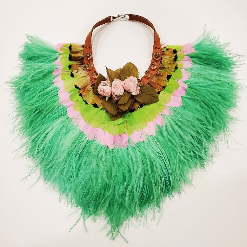 Green/pink feathered collar with leather, silk flowers and beads