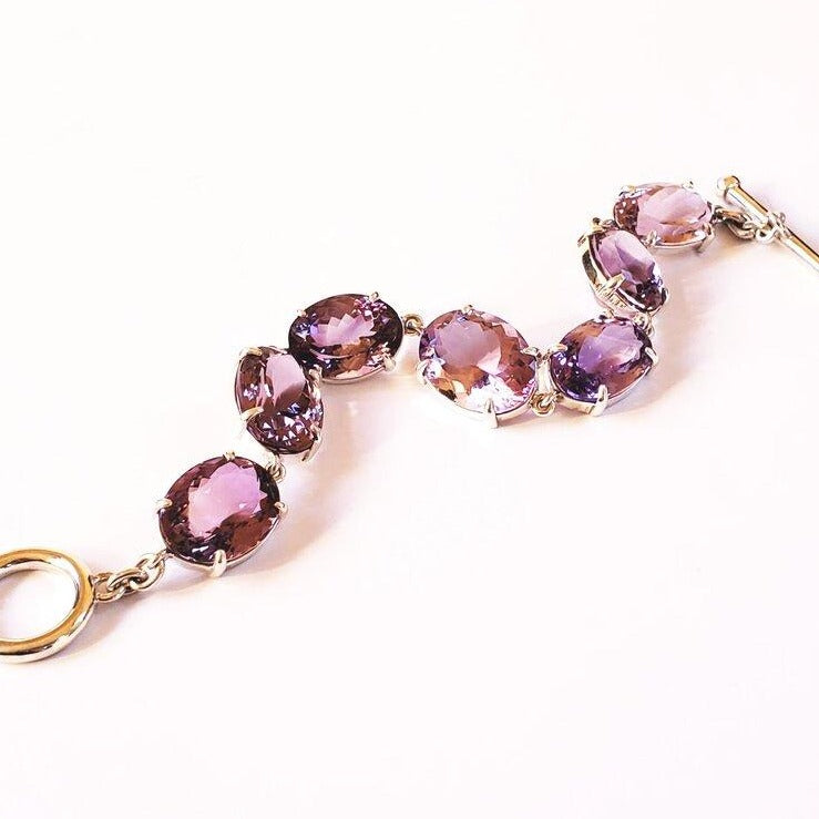 Amethyst oval, Argentium silver prong set toggle bracelet