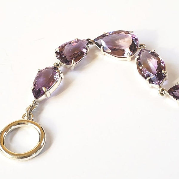 Amethyst teardop prong set bracelet