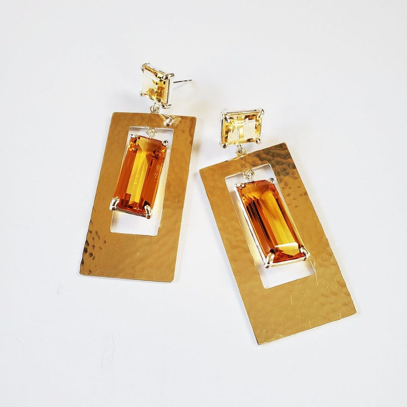 Citrine post, orange quartz, hammered silver rectangle drop earring