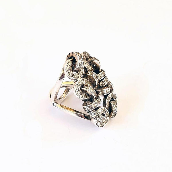 Argentium, cubic zirconium interlocking rings statement ring