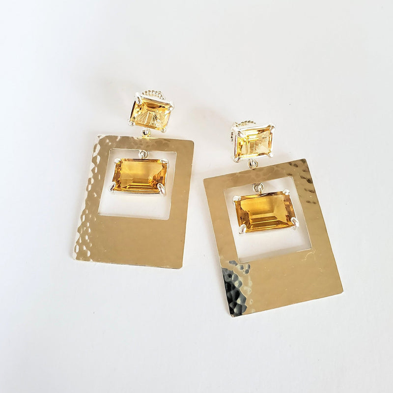 Emerald cut citrine post, citrine, sterling silver  drop earring